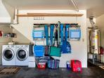 Quality Washer and Dryer and Everything You Need for a Day At The Beach in the 2 Car Garage.