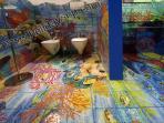 Villa Carlotta sorrentine peninsula holiday rentals bathroom with hand painted artistic shower vrbo