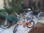 2 cruiser bikes + 2 children bikes