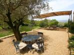 Terrace looking over to the Luberon Valley and Mont Ventoux