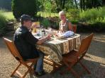Breakfast in our garden during Summer weather permitting
