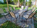 Backyard Patio and fire pit - Hexagonal screened tent not pictures