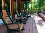 Comfortable rockers on  wrap around deck. Perfect for nature watchers*enjoy beautiful Autumn colors