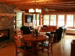 Newly renovated Dining and Living room with views of lake.