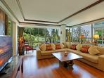The lounge is comfortable with superb views especially of the sunsets across the Andaman Sea