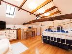 Light and airy bed sitting room, skylights, original beams and vaulted ceiling