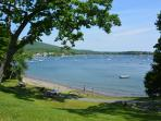 Laite beach on Camden Harbor with views of hills