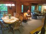 Great room overlooking the Pigeon River