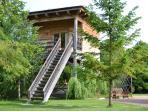 timber chalet on stilts