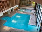 INDOOR/OUTDOOR HEATED POOL + JACUZZIs