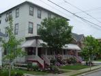 4 apts at one location.   Two are two bedrm apts on 1st floor & 4 bedrm apts on 2nd / 3rd floors