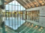 Beautiful jade green Welsh slate lined HEATED indoor pool, with views across the nature reserve
