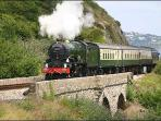 Steam Train running along South Devon