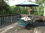 Deck with gas grill- outdoor furniture and umbrella - 7 Camelot Drive South Harwich Cape Cod New England Vacation...