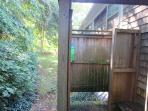 Enjoy the enclosed outdoor shower with hot and cold water when returning from the beach - 14 Capri Lane Chatham Cape...