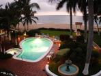 Beachfront pool terrace in the evening