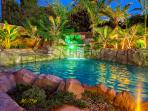 Night View-  Pool Jacuzzi and Waterfall