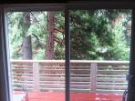 Wake up to this scene from your front bedroom downstairs at Yosemite Hideaway unit A.