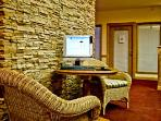 The lodge has a business center and internet.