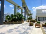Large rooftop tropical garden and sky lounge, more than 2000 sqm, with huge Jacuzzi