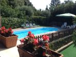 Park and swimming pool from the veranda