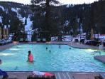 Heated outdoor pool and whirlpool are perfect for year round enjoyment