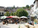Aubeterre village square - Sunday is market day
