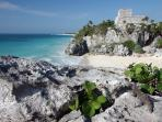 A just 10 minutes away the unique sea site Tulum Maya archaeological.