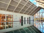 The beautiful Welsh slate lined, heated, indoor swimming pool at the Luxury Spa complex