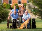 Meet the family - On the bench, left to right Simon and David and behind them Julie and Tilly!