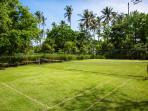 Grass tennis court amongst lush gardens