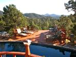 View of pool from patio dining table