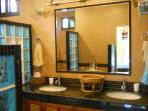 MASTER BATH WITH DOUBLE SINKS AND DOUBLE SHOWER / SLATE FLOORS, GRANITE COUNTERS