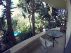 Generously sized terrace overlooking the pool