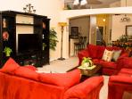 Large family room with flat screen TV, Xbox 360, DVD/Blu-ray and cable access