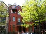 Charming tree lined street with historical 18th century brownstones.