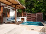 Covered outdoor sitting area and plunge-pool.