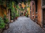 In the medieval heart of Trastevere on a quiet walking street