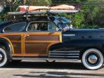 An authentic Surfer's Woody in Haleiwa surf town.