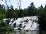 Waterfalls in the area are many. One of the waterfalls is just west of the cabin. Bond Falls, Agate