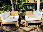 Recycled wooden day beds turned into sun beds.