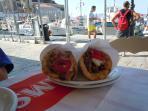 Great Greek fast food - souvlaki with pita