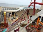 View of the beach  and boardwalk from Funland, Rehoboth Boardwalk