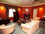Davenport private sitting room with gas log fire