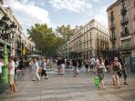 Las Ramblas, just 3 minutes walking from the Apartment