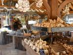 The farm shop adourned with garlic