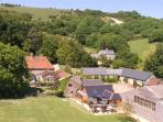 Aerial view of the farm and restaurant patio