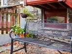 Small outside seating area to enjoy a glass of wine