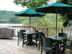 Wraparound deck and BBQ area overlooking the lake