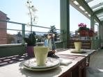 The perfect breakfast on the terrace enjoying the Tuscan sun.